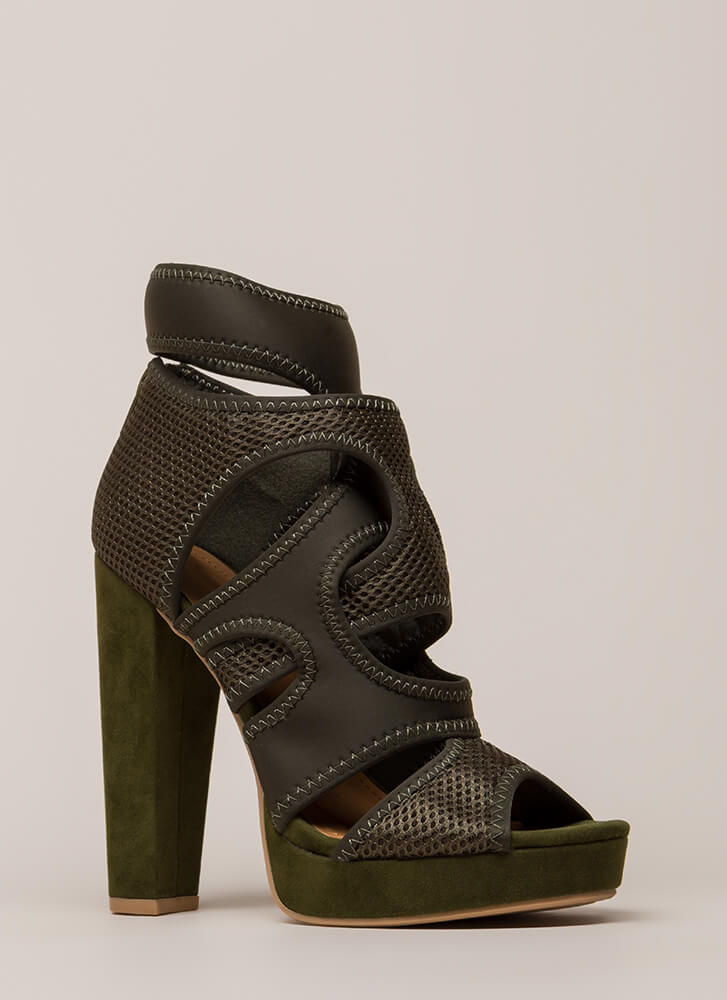 The Layers Club Cut-Out Chunky Heels OLIVE