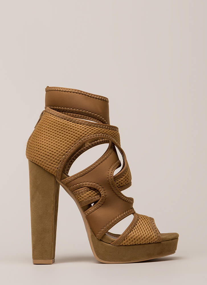 The Layers Club Cut-Out Chunky Heels TAUPE