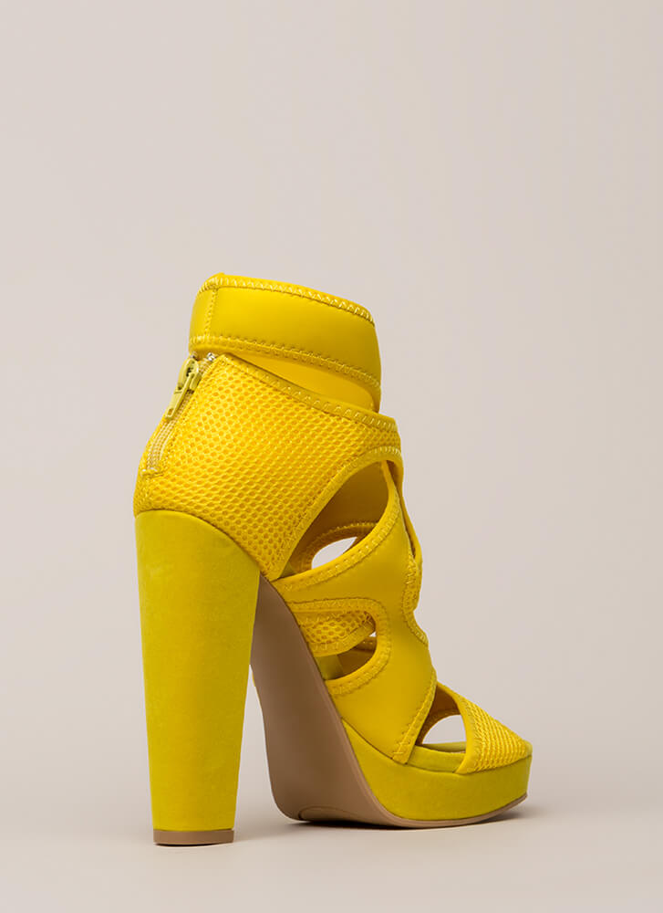 The Layers Club Cut-Out Chunky Heels YELLOW