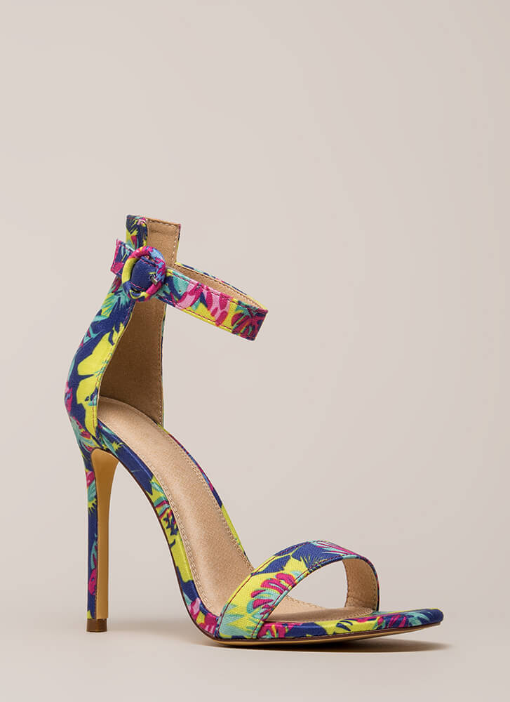 So Ready Tropical Ankle Strap Heels MULTI