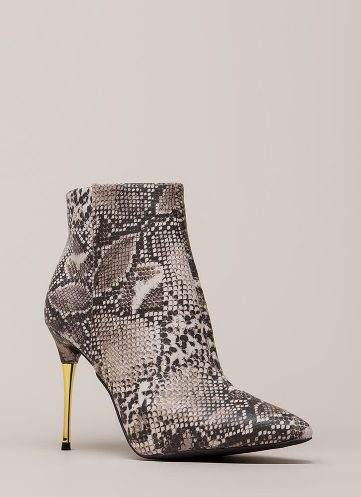 Stick Shift Pointy Faux Snake Booties BEIGEBROWN