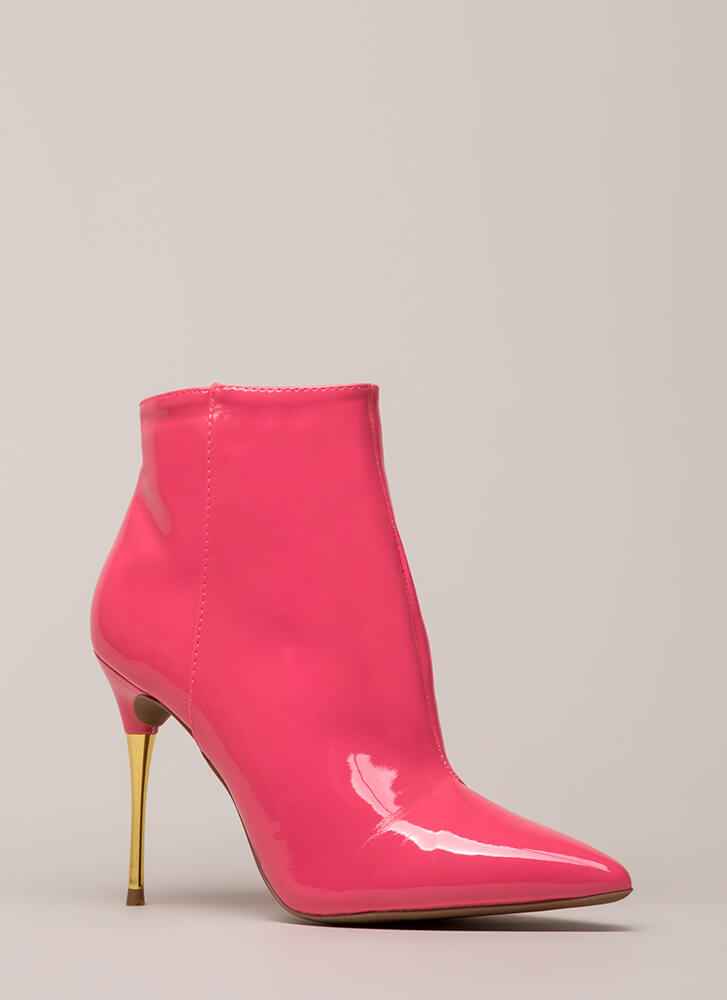 Stick Shift Pointy Faux Patent Booties CANDYPINK