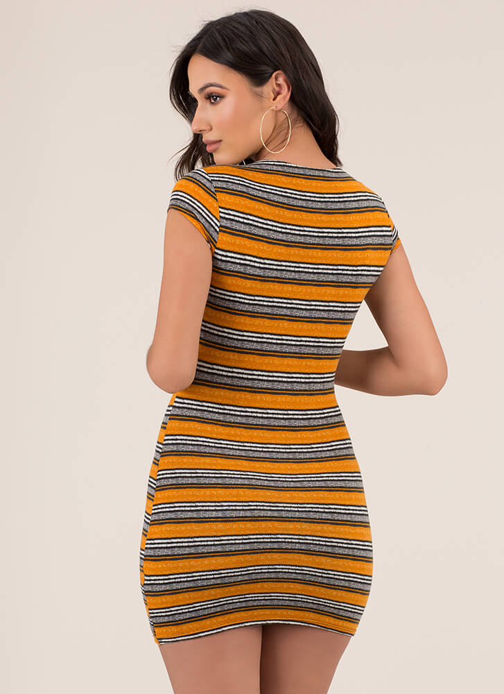 That'll Be The Day Striped Minidress MUSTARD