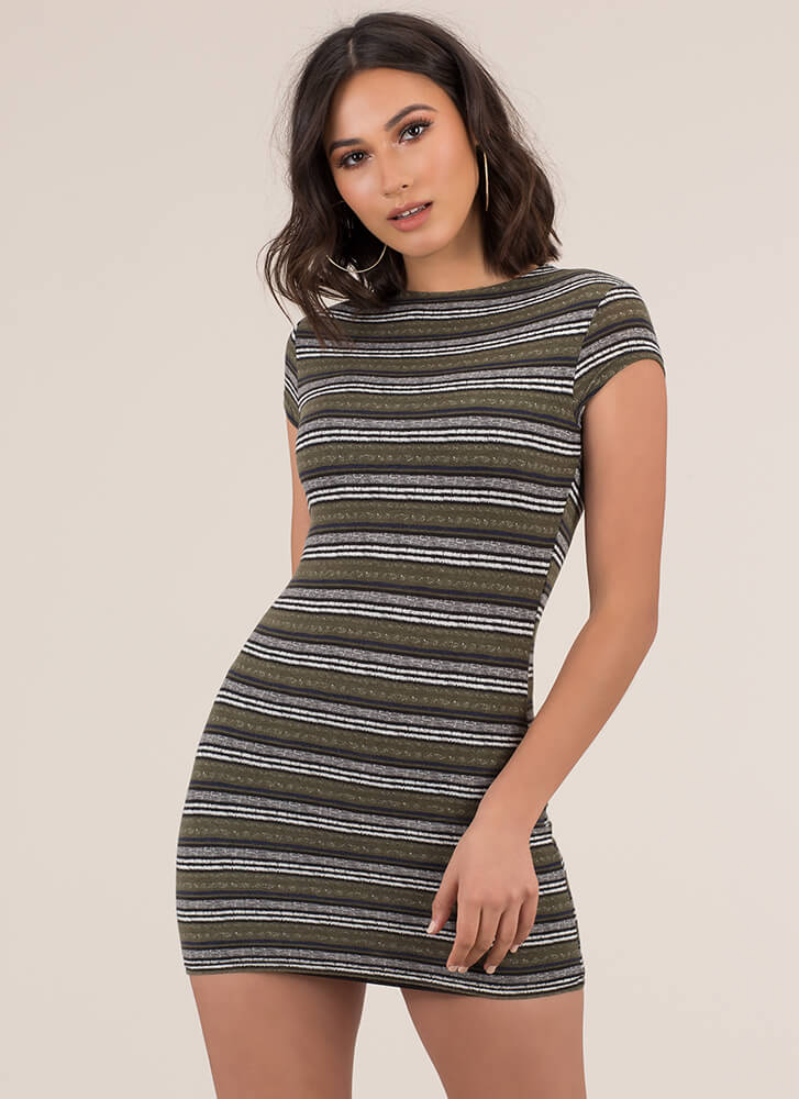 That'll Be The Day Striped Minidress OLIVE