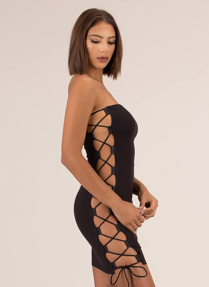 Side Chick Strapless Lace-Up Minidress BLACK