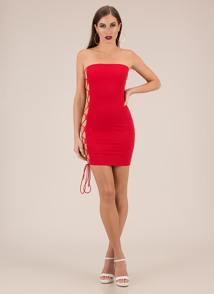 Side Chick Strapless Lace-Up Minidress RED