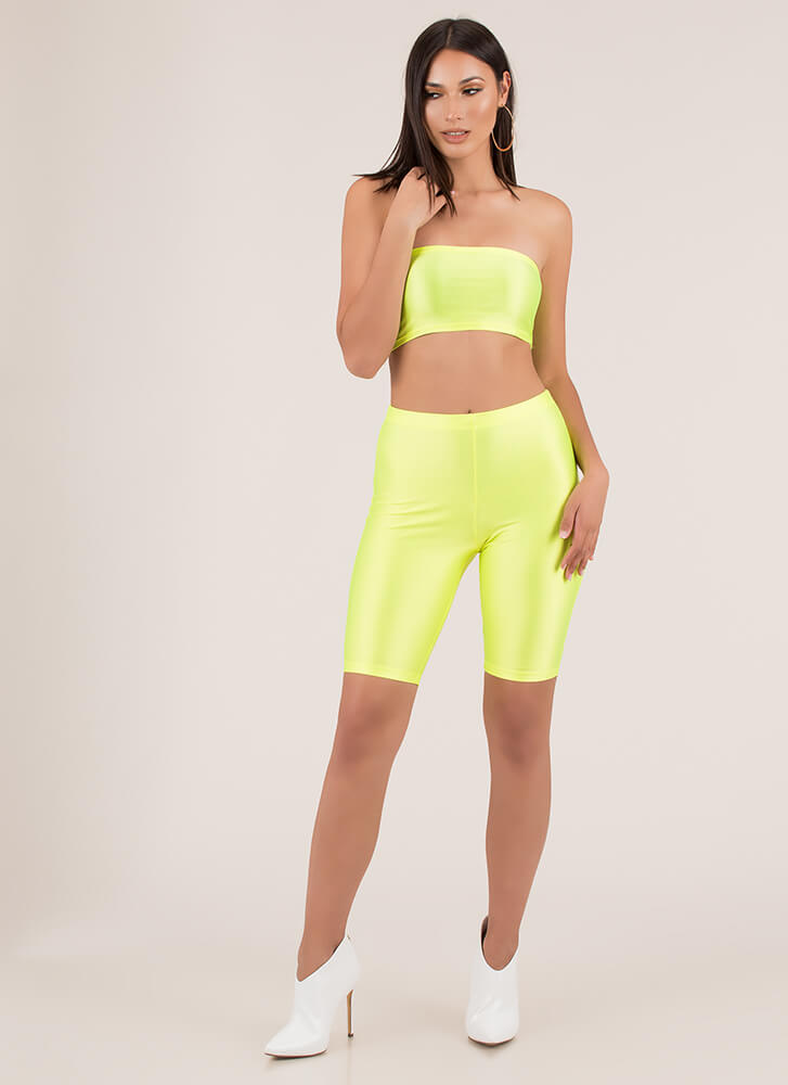 Sheen Stealer Bandeau And Shorts Set NEONYELLOW
