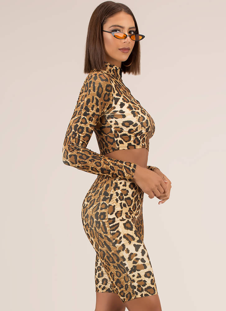 Feelin' Wild Leopard Top And Shorts Set LEOPARD