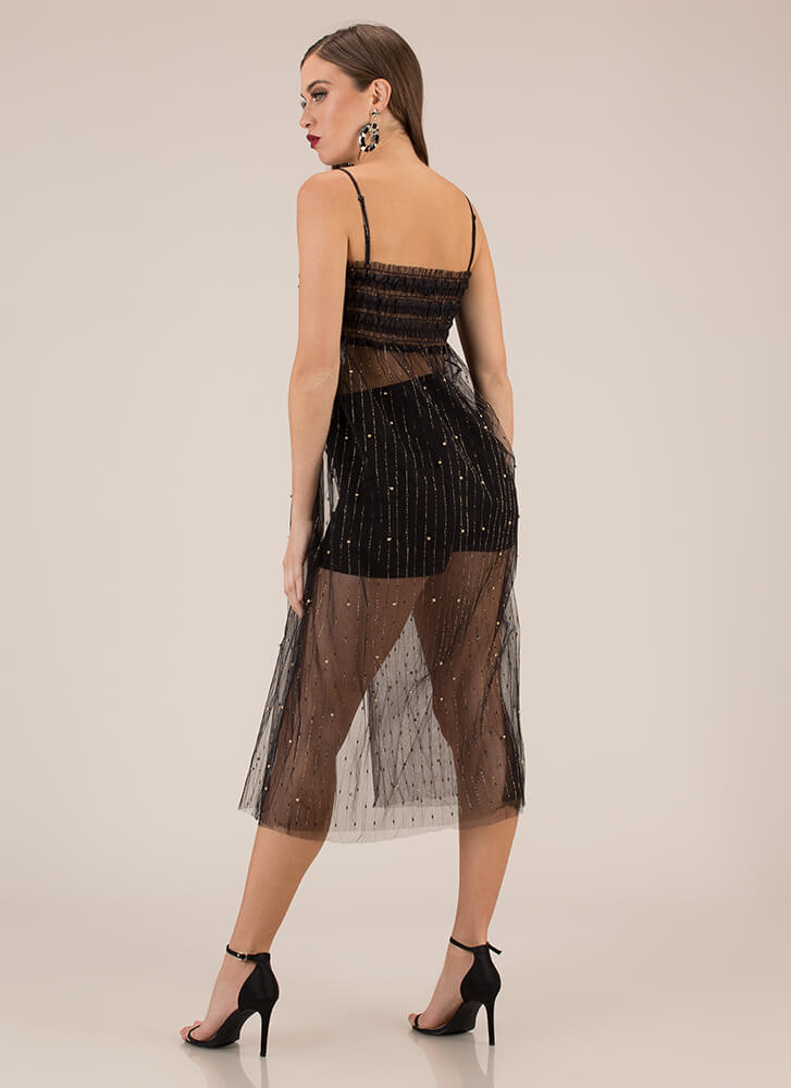 Feeling Sparks Sheer Tulle Mesh Dress BLACK