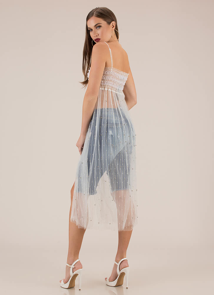Feeling Sparks Sheer Tulle Mesh Dress WHITE