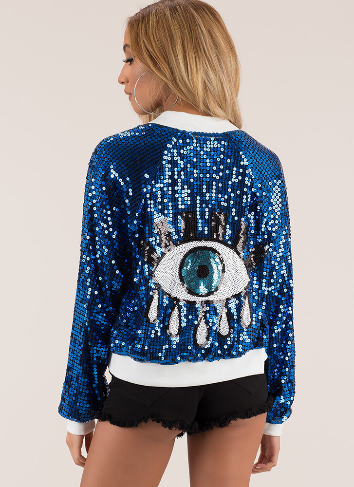 You Bomber Jacket blue Sequined Eye See Pq5Bp