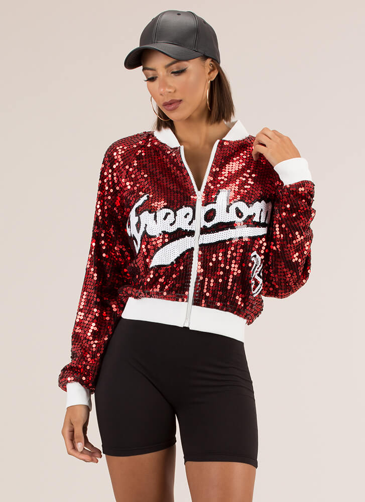 Freedom Sequined Bomber Jacket RED