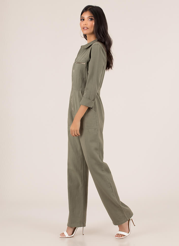 Work It Out Zip-Front Utility Jumpsuit OLIVE (Final Sale)
