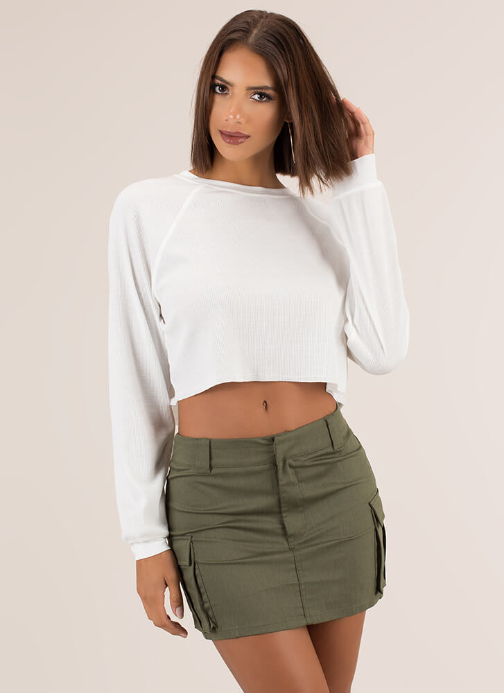 Getting Comfortable Rib Knit Crop Top WHITE