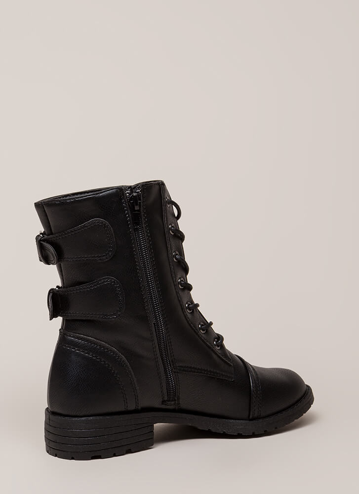 Living Legend Lace-Up Combat Boots BLACK