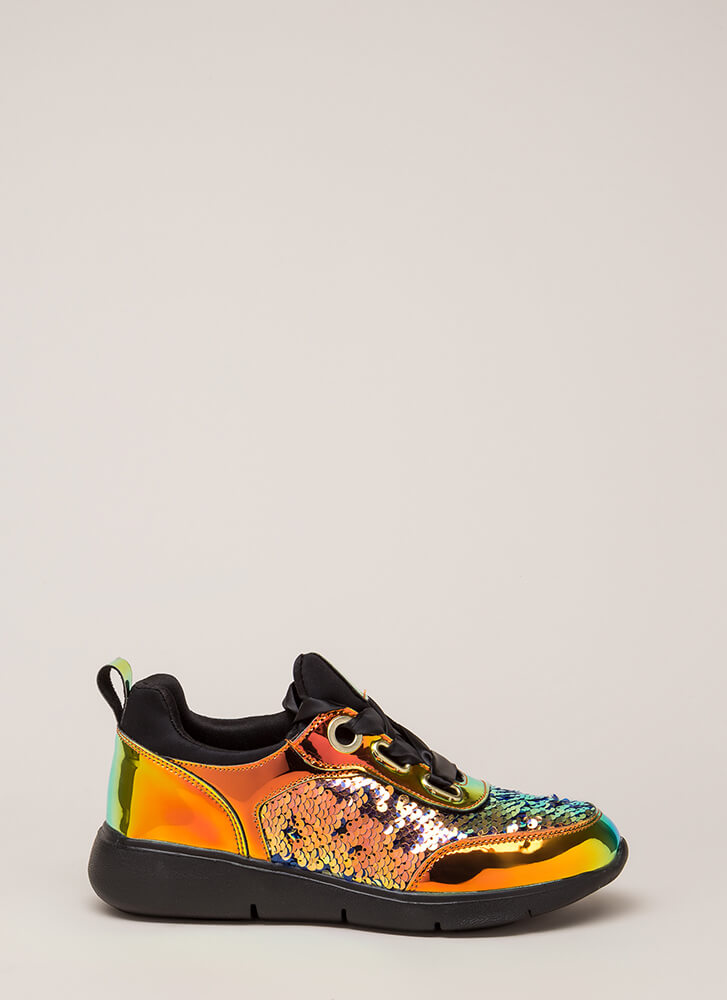 Track Star Sequined Holographic Sneakers GREEN