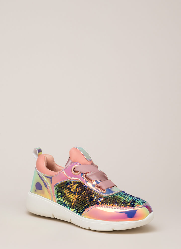 Track Star Sequined Holographic Sneakers PINK