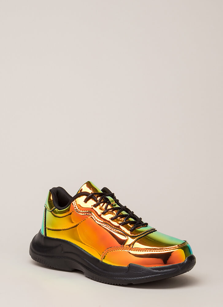 Spotlight Holographic Platform Sneakers GREEN