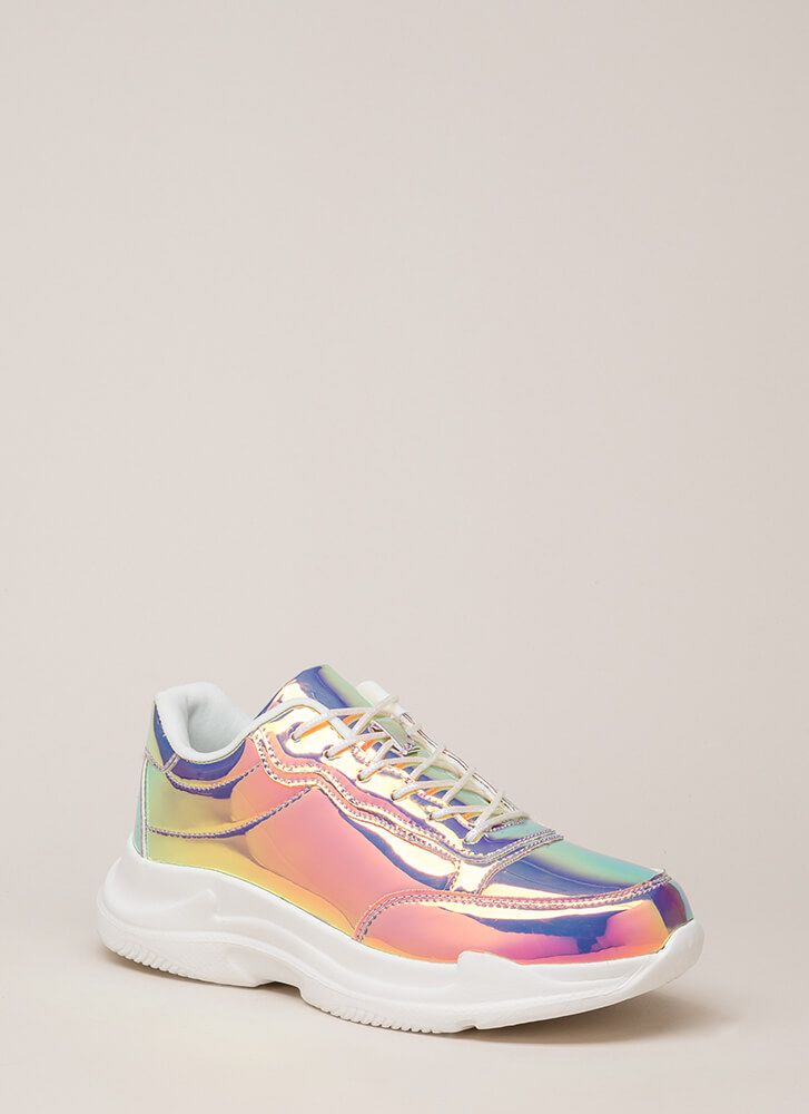 Spotlight Holographic Platform Sneakers WHITE
