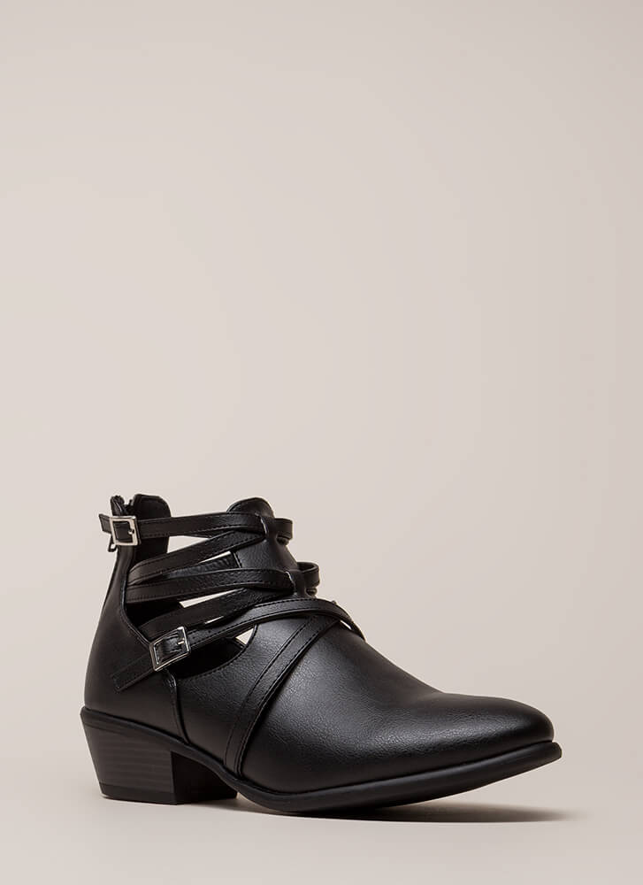 Small Victories Short Strappy Booties BLACK (Final Sale)