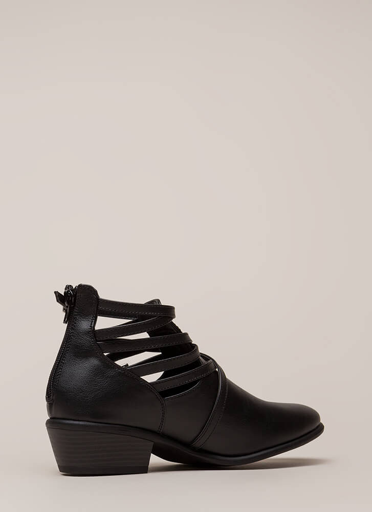 Small Victories Short Strappy Booties BLACK