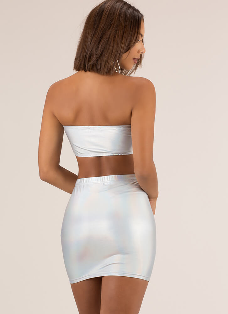 Night Out Iridescent Top And Skirt Set SILVER
