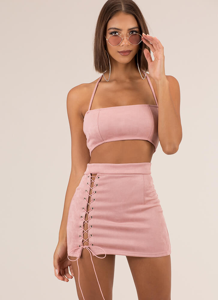 First String Lace-Up Top And Skirt Set PINK