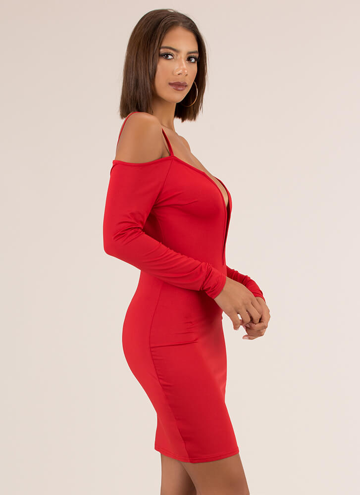 Not Yours Plunging Cold-Shoulder Dress RED