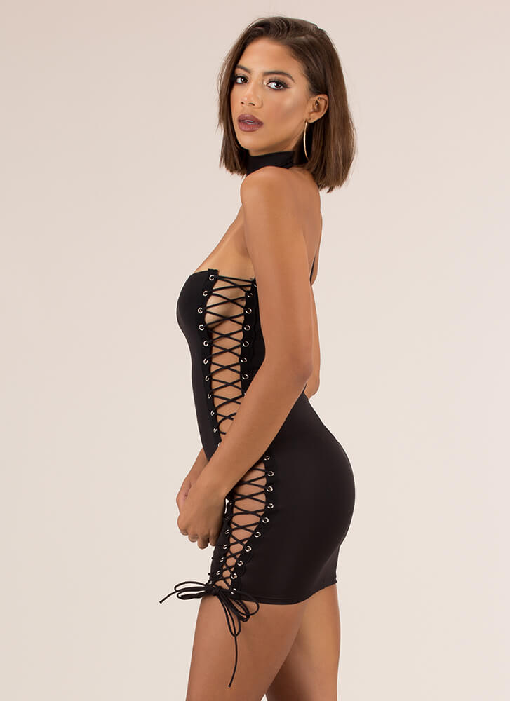 Showstopper Lace-Up Choker Minidress BLACK