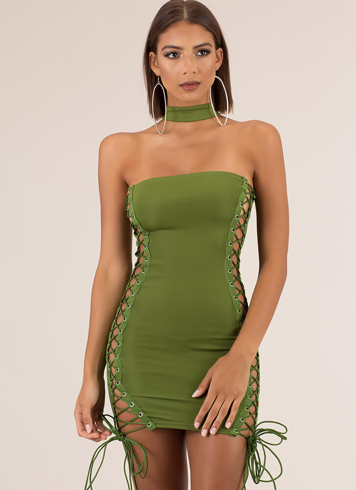 Showstopper Lace-Up Choker Minidress GREEN