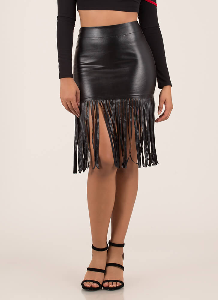 Edged Out Fringed Faux Leather Skirt BLACK