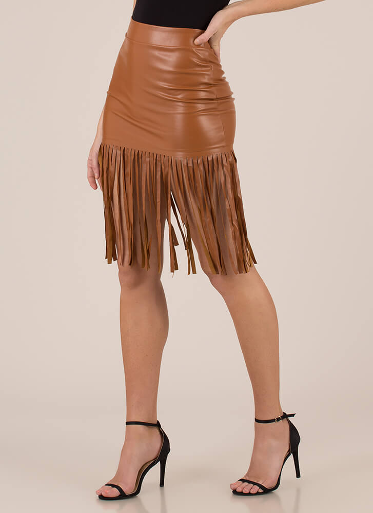Edged Out Fringed Faux Leather Skirt BROWN