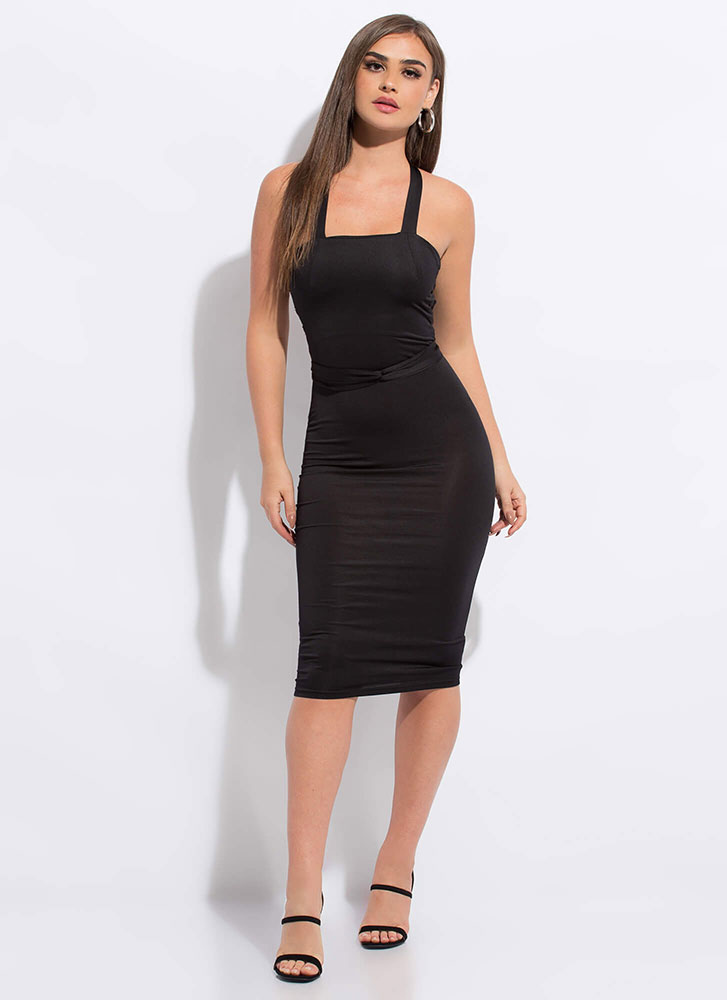 Strappily Ever After Lace-Back Dress BLACK