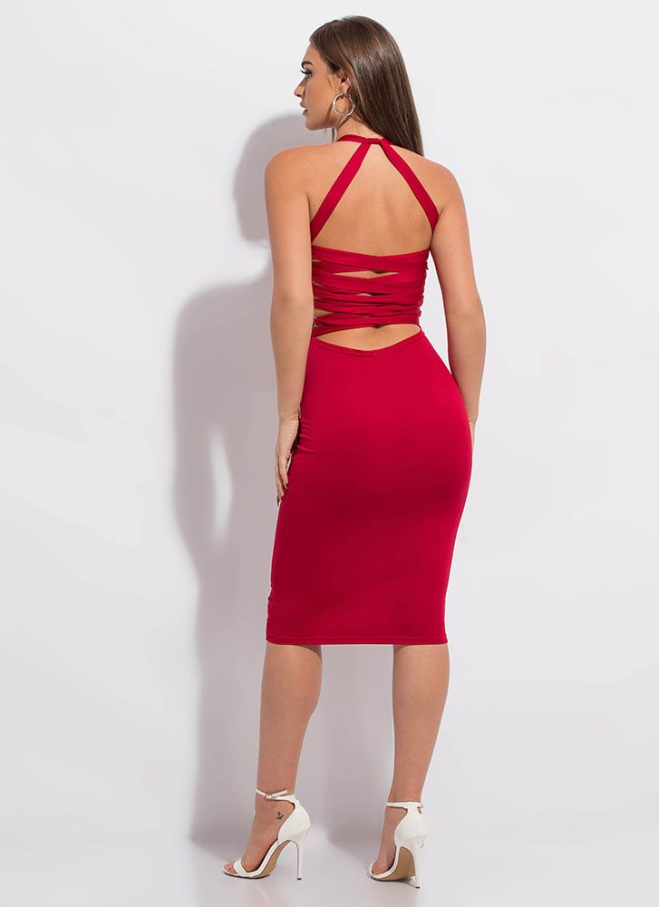 Strappily Ever After Lace-Back Dress RED