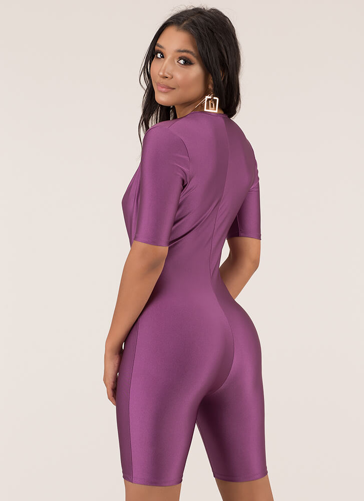 Dip It Low Plunging Nylon Romper VIOLET
