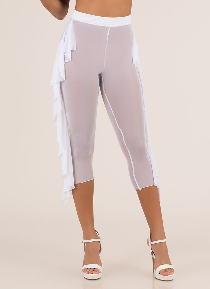 Sheer Me Up Ruffled Mesh Capri Pants WHITE