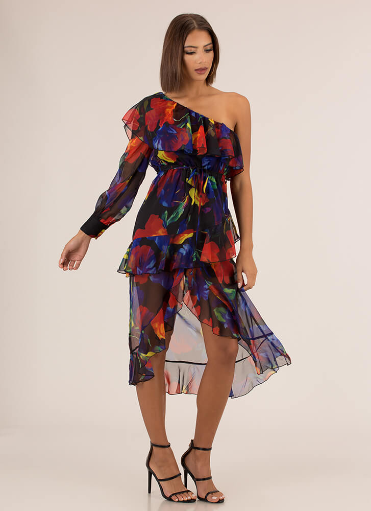 Romance With Ruffles Sheer Floral Dress MULTI