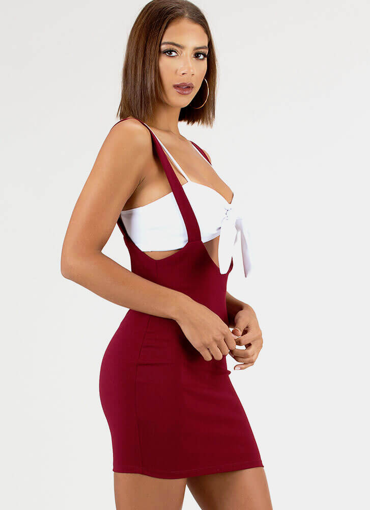 The Perfect Date Knotted 2-Piece Dress BURGUNDY