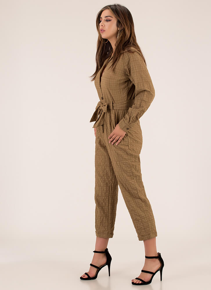 Stay On The Grid Button-Up Jumpsuit KHAKI