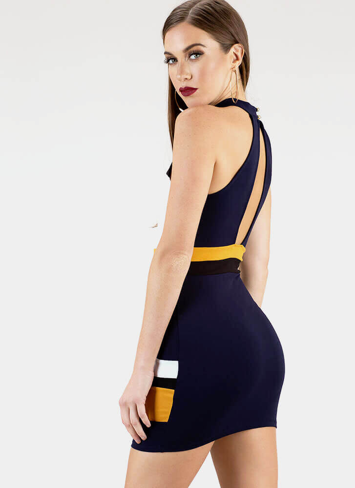 This Is Art Striped Colorblock Minidress NAVY