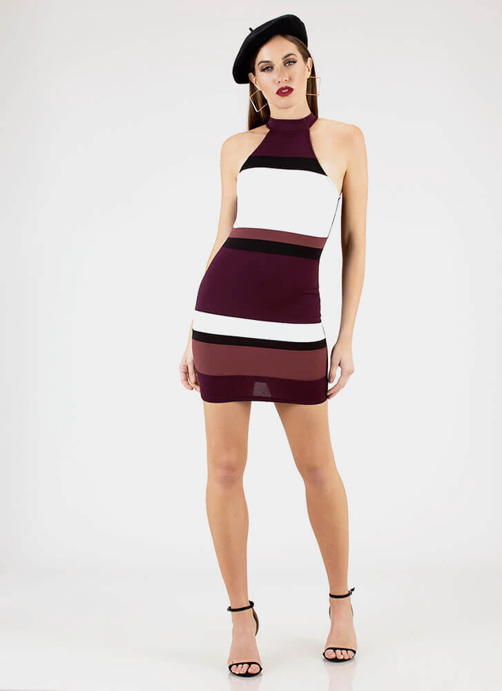 This Is Art Striped Colorblock Minidress PLUM