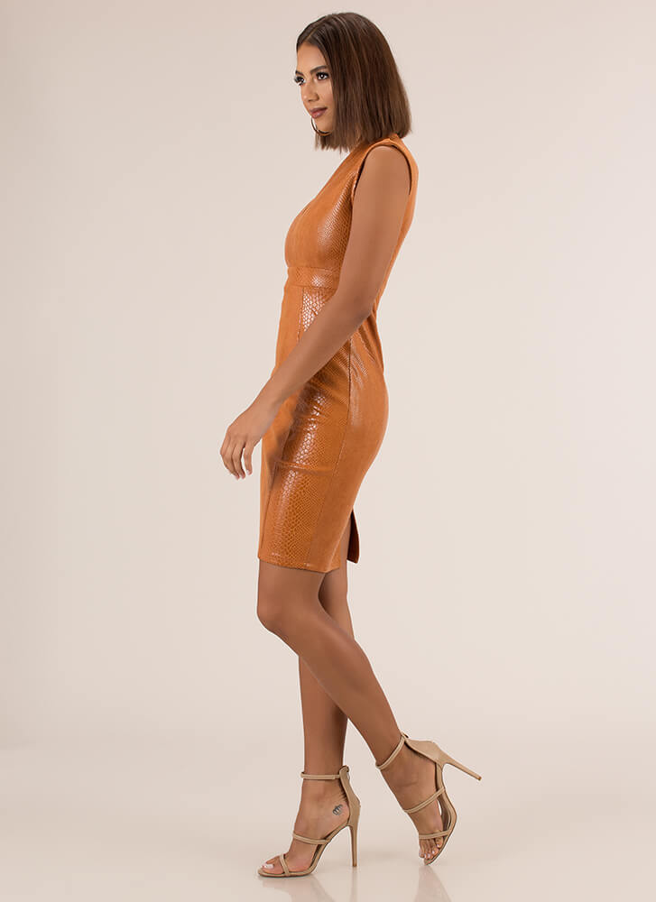 Tip The Scales Faux Leather Midi Dress CAMEL