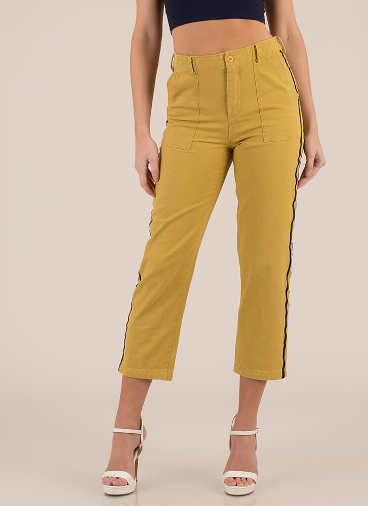 Two Stripes Cropped Cotton Trousers MUSTARD