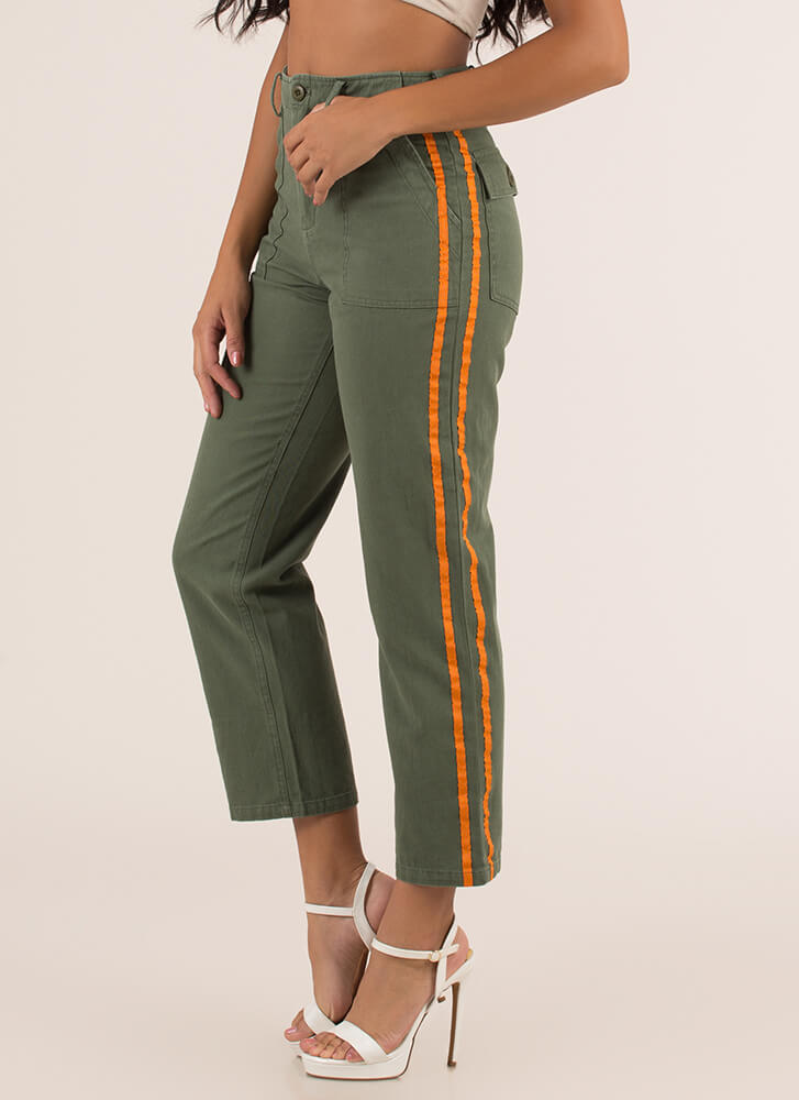 Two Stripes Cropped Cotton Trousers OLIVE