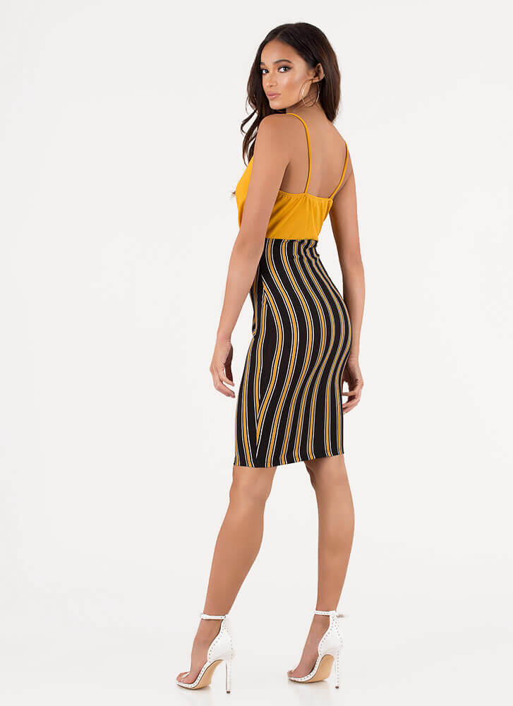This Is My Empire Striped Midi Dress BLACK