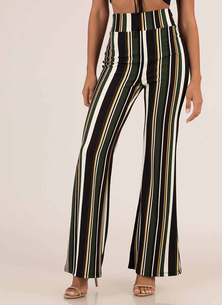 Stripe Search Flared High-Waisted Pants HUNTERGREEN (Final Sale)