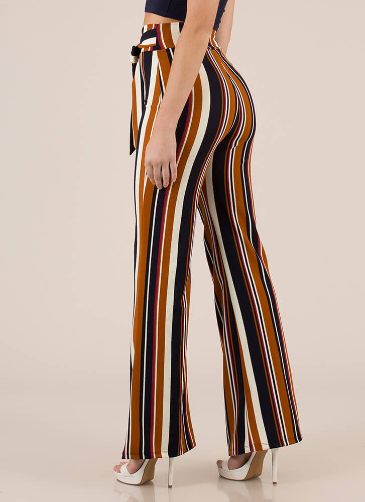 Stripe Search Flared High-Waisted Pants MUSTARD (Final Sale)