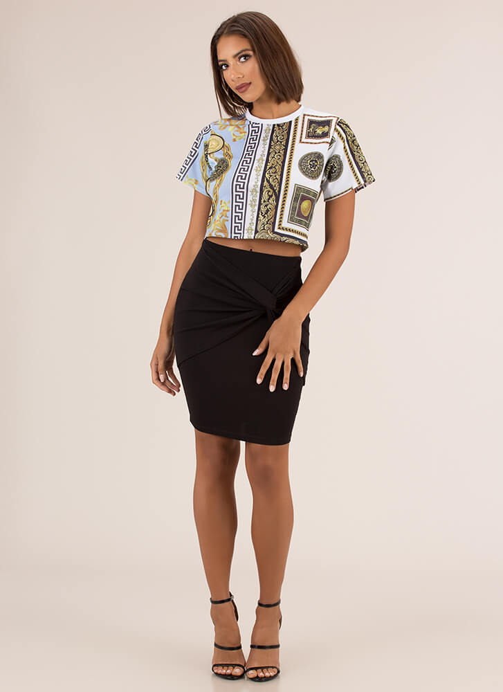 With A Twist Knot-Front Pencil Skirt BLACK