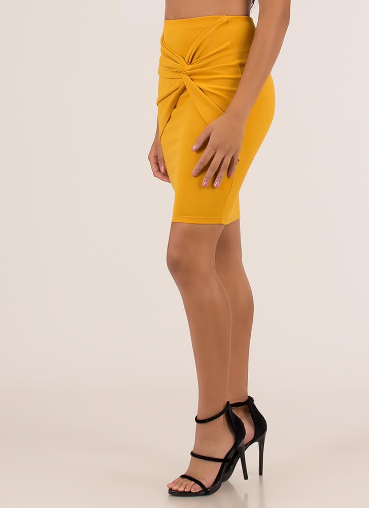 With A Twist Knot-Front Pencil Skirt MUSTARD