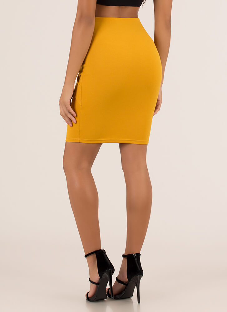 With A Twist Knot-Front Pencil Skirt MUSTARD (You Saved $16)